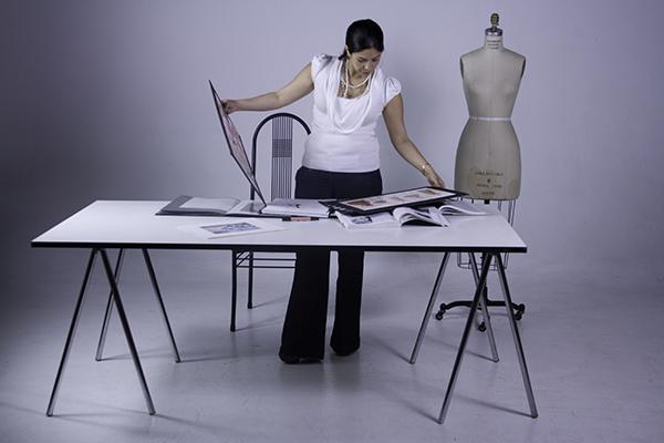 Fashion designer creating prototype product